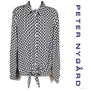 PETER NYGARD Tie Front Button Down Top Sz M $79!